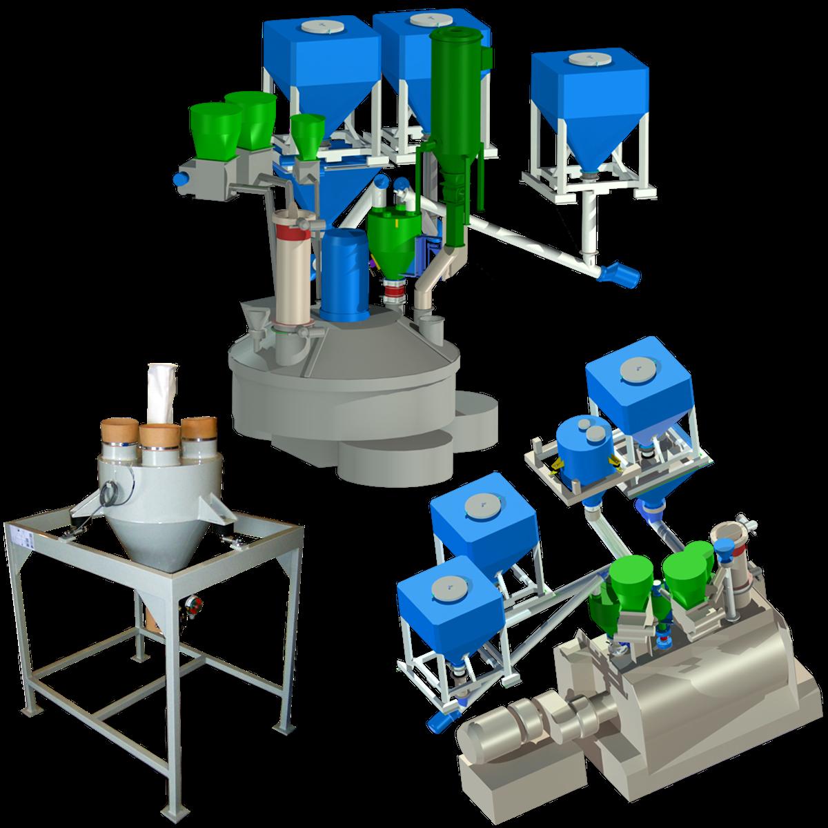 Maskiner för blandning och dosering av alla material