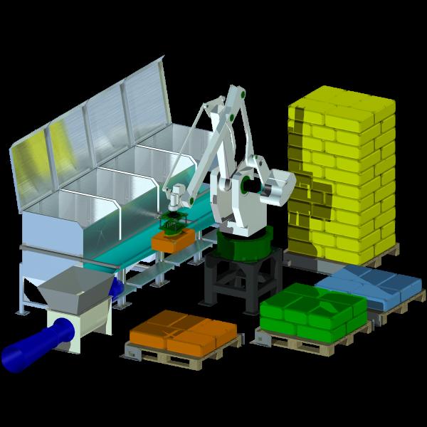Säcktömningsrobot för alla typer av palleterade småsäckar